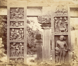 Front view of Buddhist railing pillars found at Garhwa, Allahabad District
